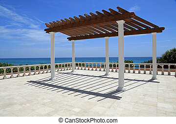 Attractive pergola by the sea