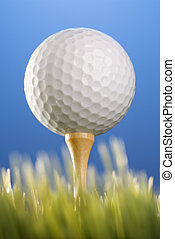 Golfball on tee in grass - Studio shot of a golfball on a...