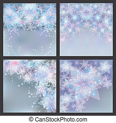 Set of silver backgrounds with flowers. Set of greeting or...