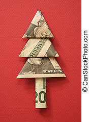 Money origami tree. - Studio shot of origami tree made from...