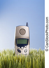 Cordless telephone in grass - Studio shot of landline...