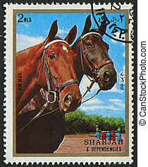 Postage stamp - EMIRATE OF SHARJAH - CIRCA 1972: A stamp...