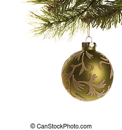 Christmas ornament. - Still life of gold Christmas ornament...