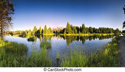 Schwabacher Landing at Dawn - Early morning panoramic view...