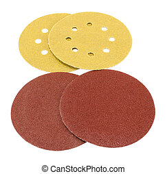 sander grinder tool sandpaper isolated on white - round...