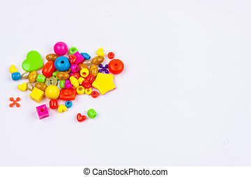 Colourful beads - white background.