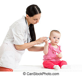 doctor measuring temperature cute baby girl isolated on...