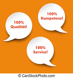 Speech Bubbles Quality, Service, Competence - Three white...