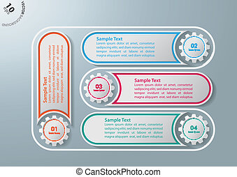 Production Line Cycle 4 Options - Colorful infographic gears...