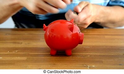 moneypig - filling money box