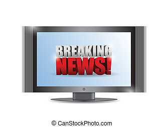 breaking news sign on a tv. illustration design over white