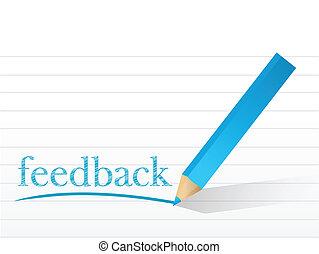 feedback written on a notepad paper.