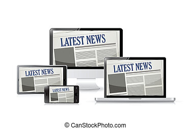 newspapers technology tools illustration design over white