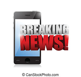 breaking news sign on a smartphone illustration design over...
