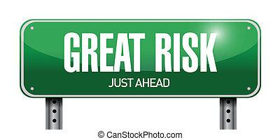 great risk road sign illustration design