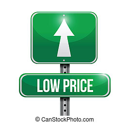 low price road sign illustration design over white