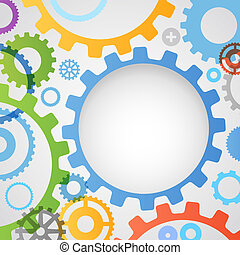 Color different gear wheels abstract background