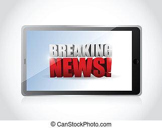 breaking news sign on a tablet. illustration design over...