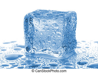 Single ice cube with drops of water on white background