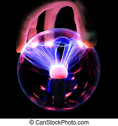 booster charge - Hand holds a plasma ball with magenta-blue...