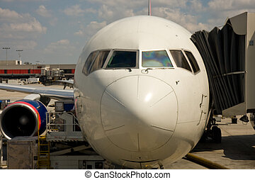 Airline Noe at the Gate - The front of a commercial jet...