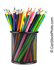 Various color pencils in black cup - Various color pencils...