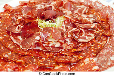 Plate of ham and spicy salami.