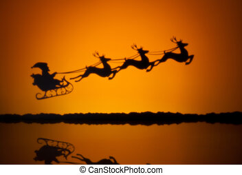 Santas sledge on his way to deliver presents