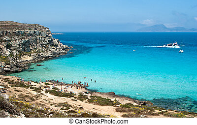 beach of favignana aegadian island - the wonderful beach in...