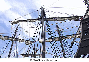Caravel Ship Masts Sails and Ropes - Masts of caravel style...