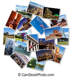 USA famous landmarks and landscapes photo collage, over...