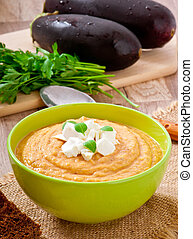 cream of eggplant soup with feta