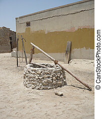 Old well in an abandoned village in arabia