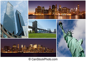 New york city famous landmarks picture collage - USA