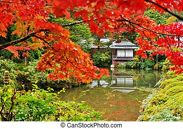 Japanese Style Gardens - Japanese garden in Nikko, Japan....
