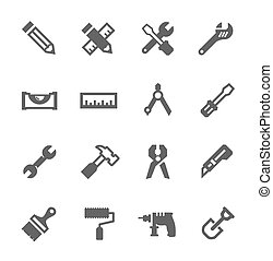Tools icon set - Simple icons related to tools