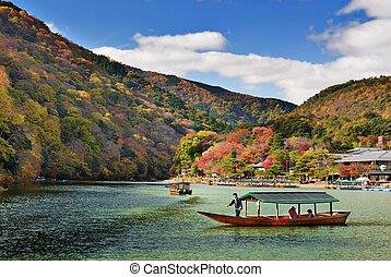 Boat in Kyoto, Japan - KYOTO - NOVEMBER 21: Boat on the...