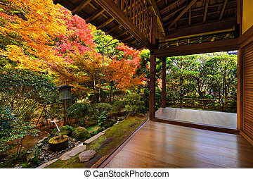 Fall Foliage in Ryoan-ji Temple in Kyoto - Fall foliage at...