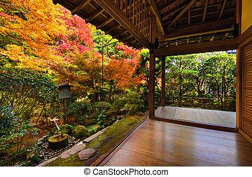 Fall Foliage in Ryoan-ji Temple in Kyoto - Fall foliage at...