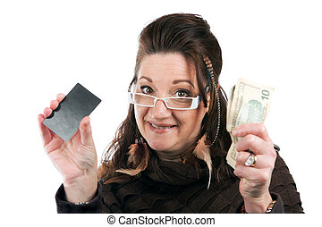Woman With Card and Money