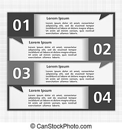 Design template with four elements, black & white style,...