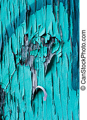 Peeling blue paint texture on old wooden wall