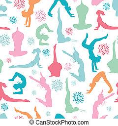 Fun workout fitness girls seamless pattern background