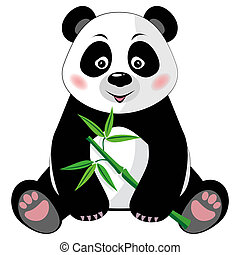 Sitting cute panda with bamboo isolated on white background...