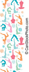 Fun workout fitness girls vertical seamless pattern...
