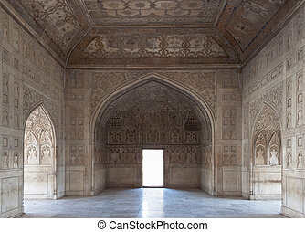 Beautiful carved room inside the palace at the Red Fort....