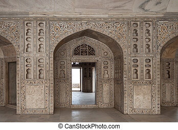 Marble hall of the palace. India - Beautiful carved and...