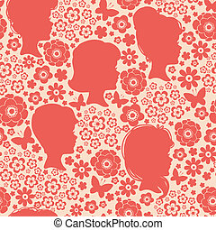 Girls silhouettes among flowers seamless pattern background