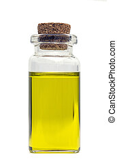 olive oil bottle over white