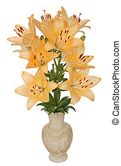 Asian lily flowers, lat Asiatic Hybrids, in a ceramic vase,...